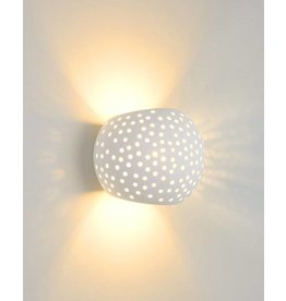 Plaster wall light white oval G9 128mm high