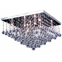Crystal ceiling light chrome LED G9x8 600x600mm