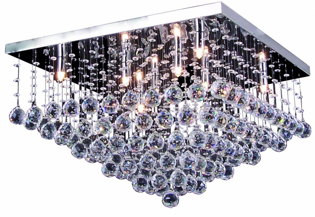 Plafonniere kristal chroom LED G9x8 600x600mm