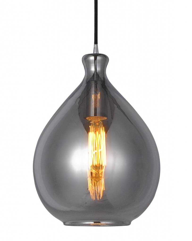 Glass pendant light bulb gold or grey 23cm Ø