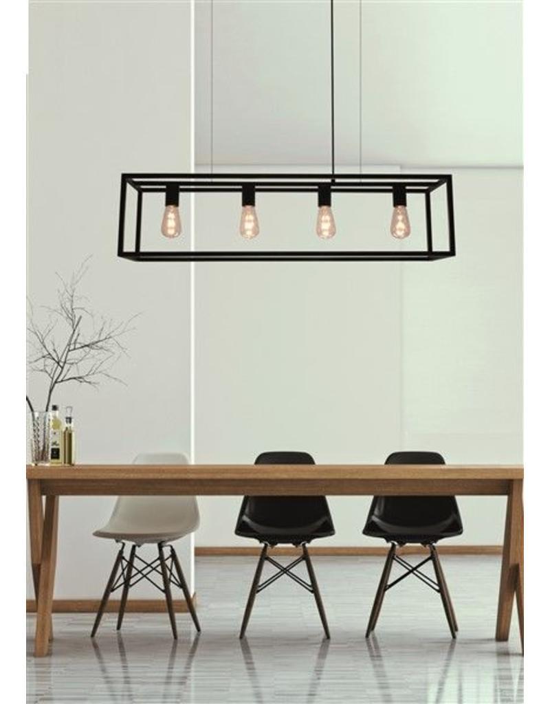 Landelijke hanglamp eettafel zwart ruggine koper 1m for Landelijke eettafel