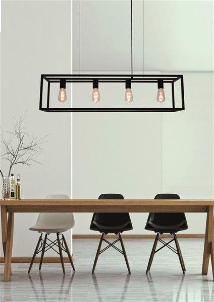Landelijke hanglamp eettafel zwart ruggine koper 1m for Lampen 150 cm