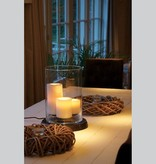 Rustic table lamp LED 3 candles 38cm high