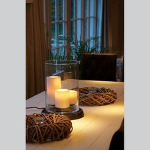 Landelijke tafellamp LED 3 kaarsen 38cm hoog