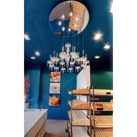 Glazen hanglamp chroom sierlijk 90cm diameter