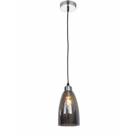 Luminaire suspendu verre gris conique 1xE14 1200mm haut