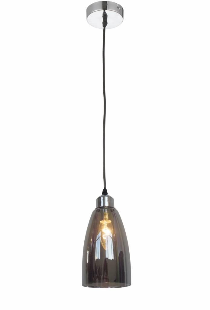 Hanglamp glas grijs conisch 1xE14 1200mm hoog