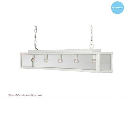 Hanglamp glas beige, wit, lood, taupe, goud landelijk 100cm