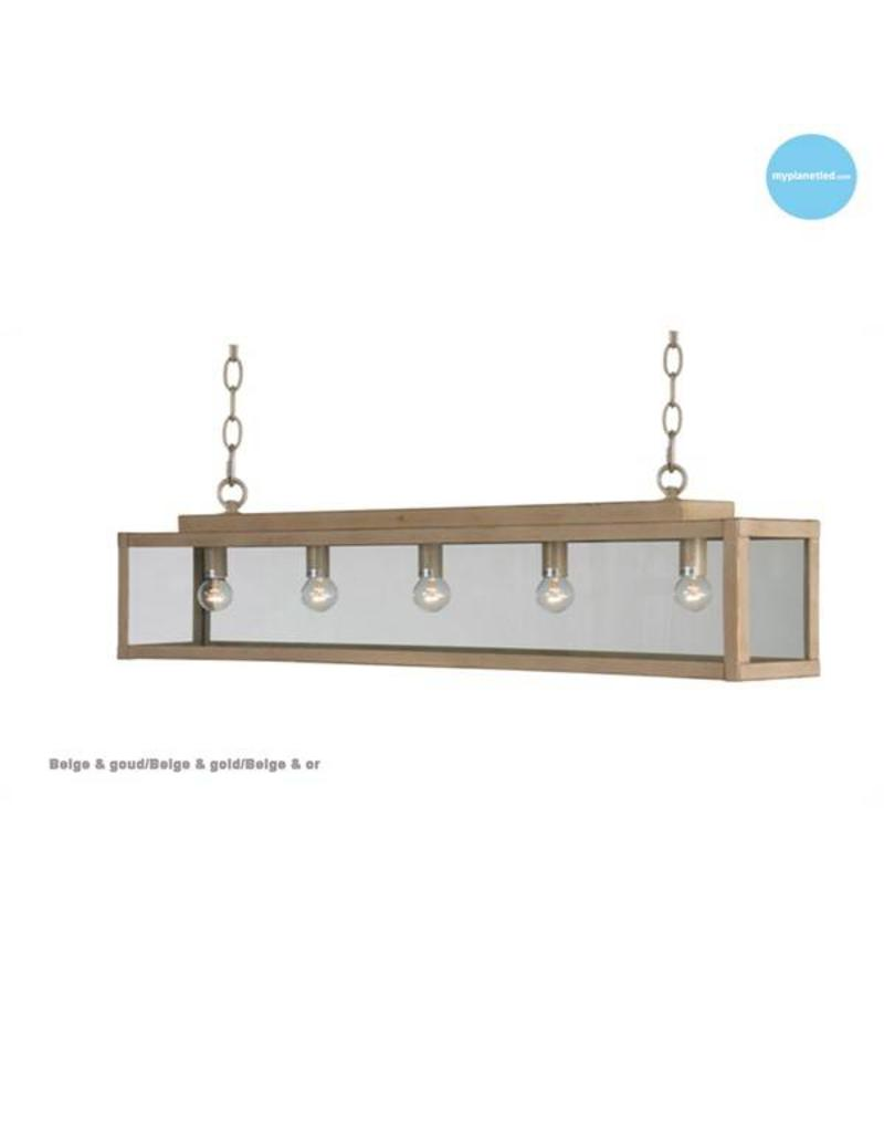 Glass pendant light rustic beige, white, lead, taupe, gold 100cm