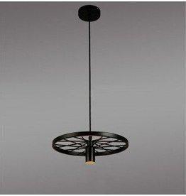 Wheel becomes industrial pendant light for LED lighting