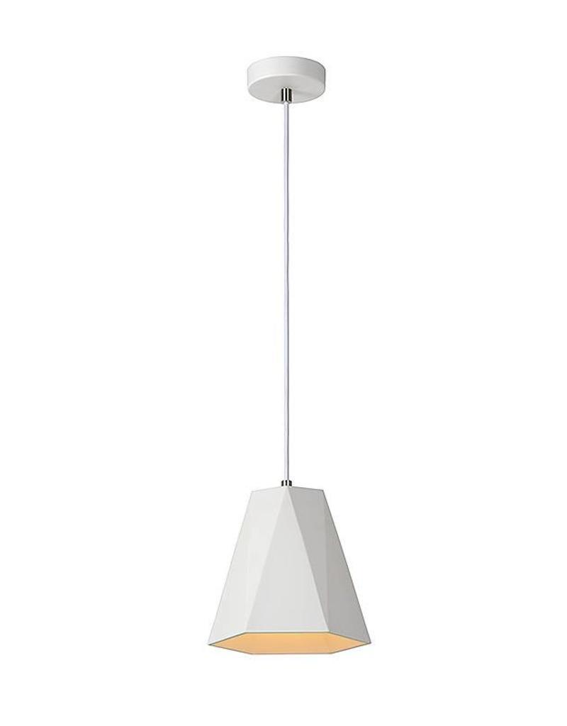 Hanglamp wit gips zeshoek E27 20cm diameter