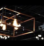 Luminaire suspendu noir, cuivre, rouille carré rustique E27x4