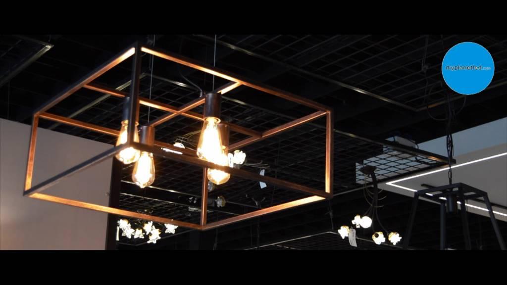 luminaire suspendu noir cuivre rouille carr rustique e27x4 myplanetled. Black Bedroom Furniture Sets. Home Design Ideas