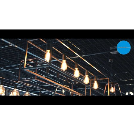 Hanglamp zwart of roest E27x5 1500mm lang