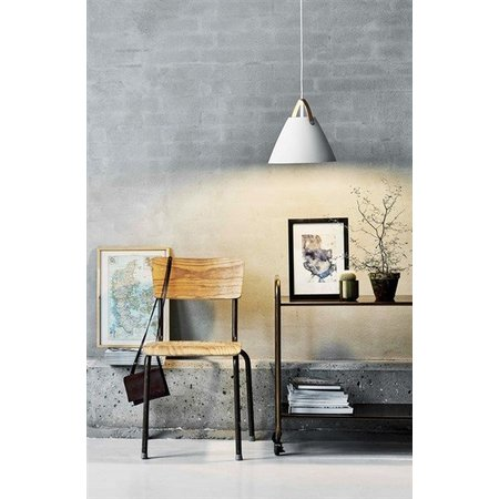 Scandinavian pendant light white, black, brass, glass 27cm Ø