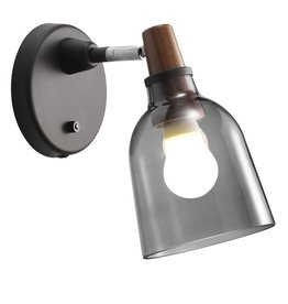 Smoked glass wall light E14 14 cm Ø