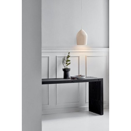 White ceramic pendant light ribbed E27 22 cm Ø