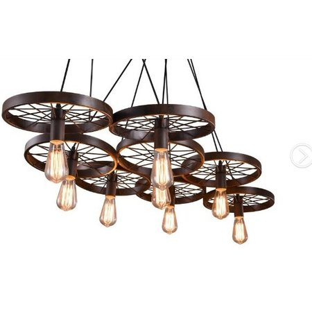 Luminaire suspendu vintage avec 6 roues pour éclairage LED