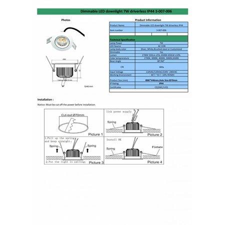 Inbouwspot LED dimbaar 7W IP44
