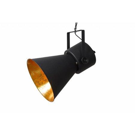 Zwarte hanglamp met gouden binnenkant vintage E27