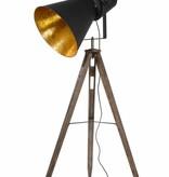 Vloerlamp zwart goud driepoot vintage E27