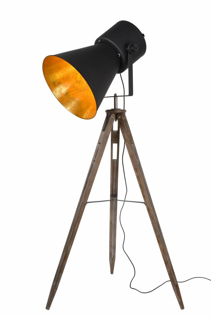 Gold tripod floor lamp vintage E27