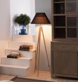 Lampadaire avec abat-jour tripode noir, gris, blanc