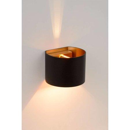 Up down wandlamp zwart goud, wit of grijs LED 4W afgerond