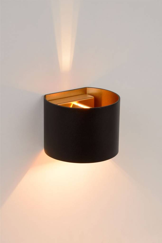 Up Down Wall Light Black Gold White Or Grey Led Rounded