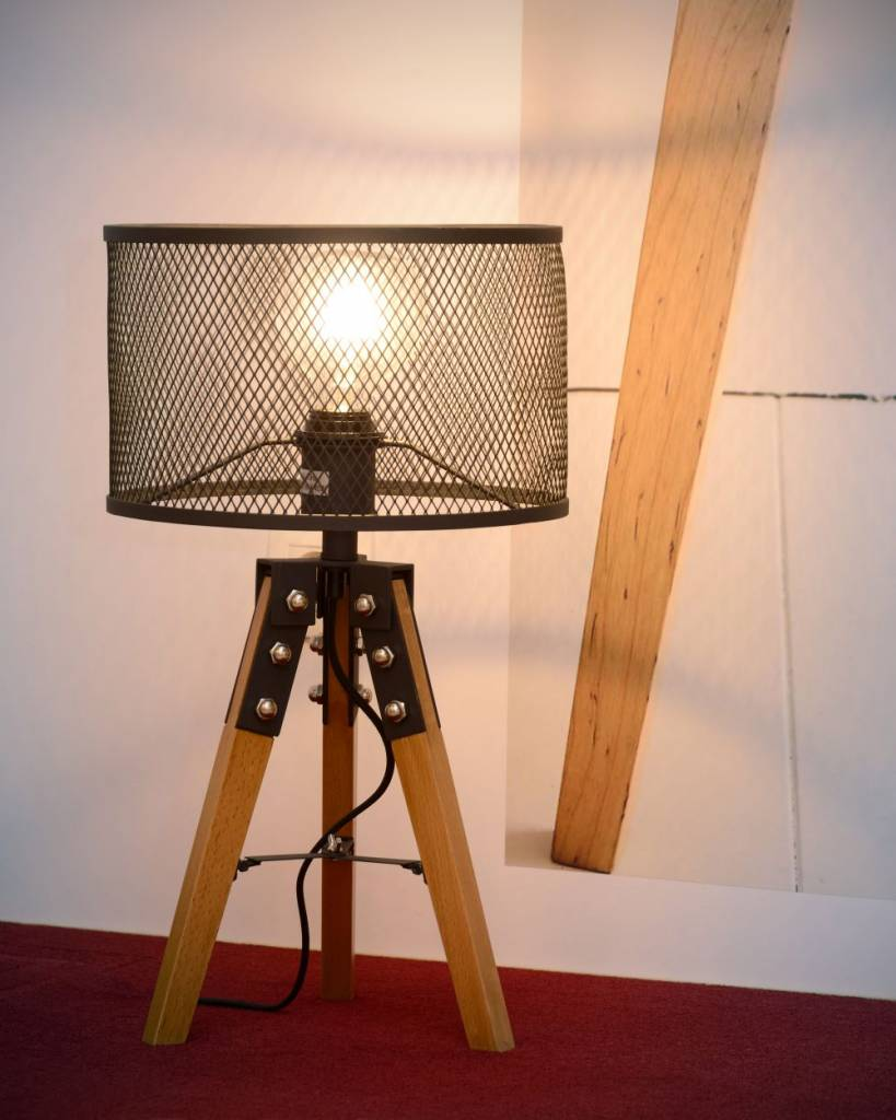 Industrial cage table lamp metal tripod wood e27 myplanetled industrial cage table lamp metal tripod wood e27 geotapseo Images