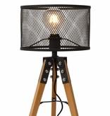 Tafellamp houten voet lampenkap kooi vintage E27