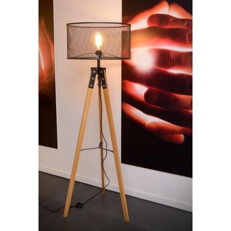 lampadaire tr pied vintage bois cage m tal e27 myplanetled. Black Bedroom Furniture Sets. Home Design Ideas