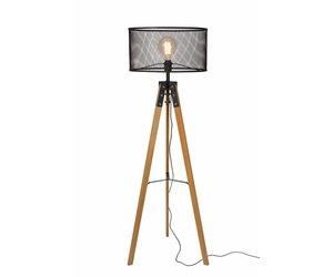 Vloerlamp driepoot hout kooi metaal vintage stijl myplanetled