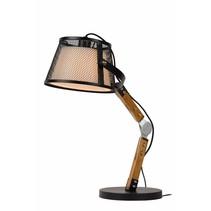 Tafellamp vintage houten arm lampenkap E27