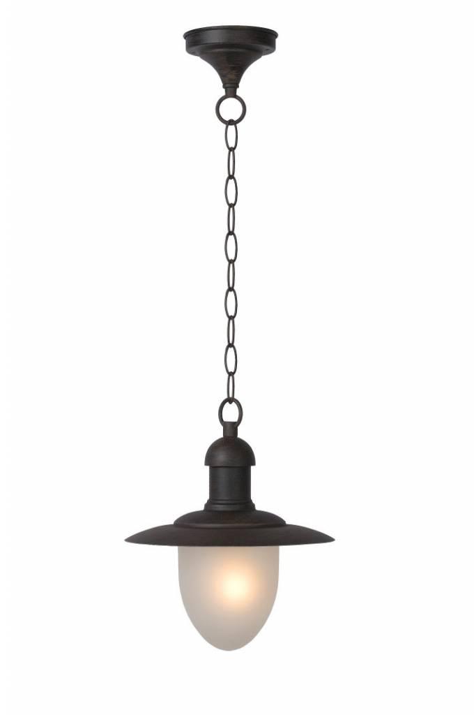 Buitenlamp hangend met glas, zwart, roest, E27