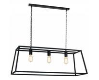 Hanglamp zwart of roest landelijk E27x3 1000mm lang