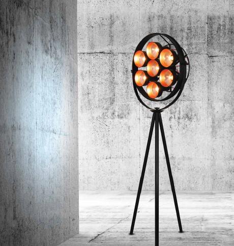 Staande lamp industrieel design 2040mm zwart e27x7 for Lamp industrieel