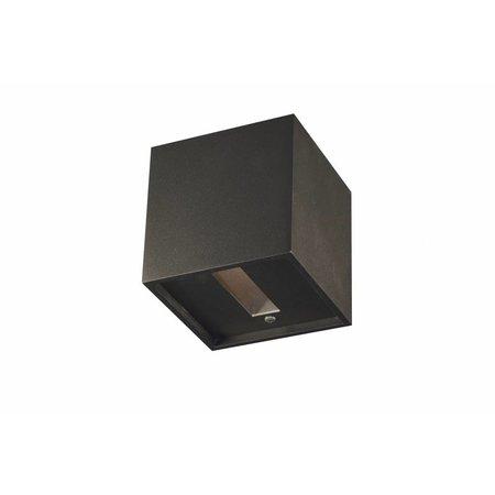 Wandlamp LED wit/alu/zwart vierkant up en down 102mm 4W