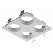 Vierkante inbouwspot voor 4 spotjes wit, zwart,  grijs