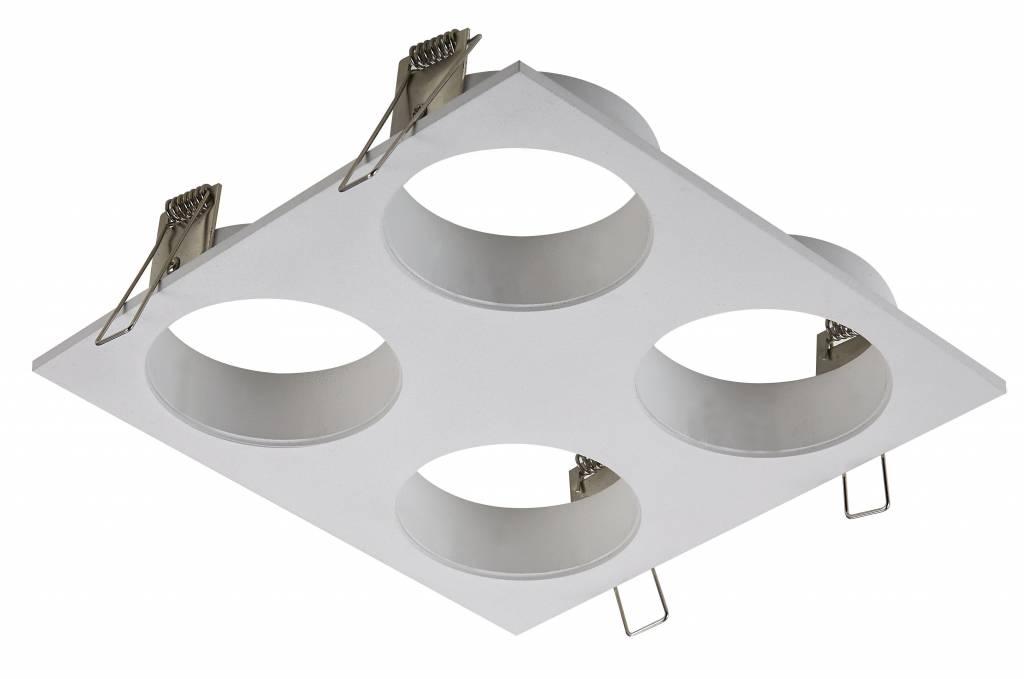 Square downlight for 4 spots white, black or grey