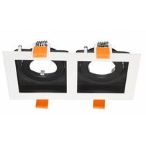 Dubbele inbouwspot wit, zwart, goud GU10
