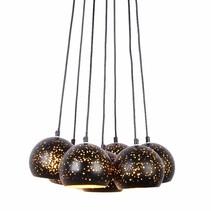 Hanglamp meerdere lampen zwart goud 7 x E27