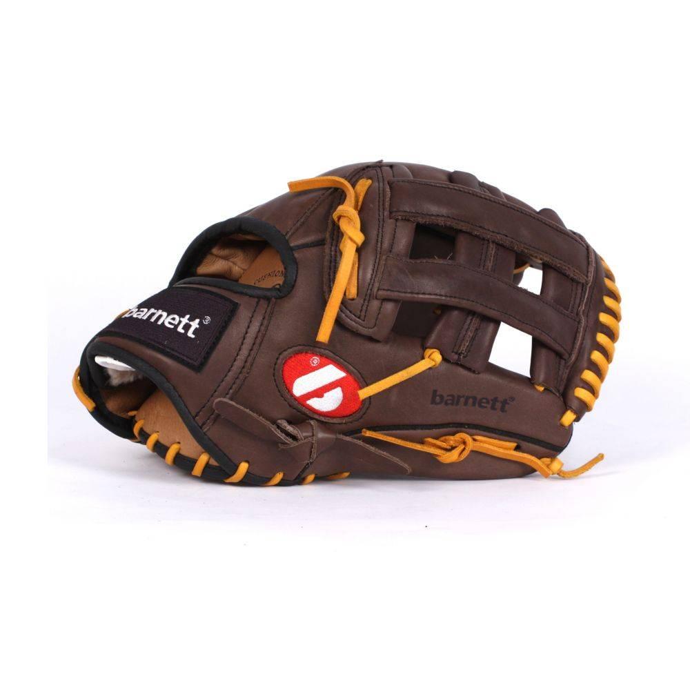 """barnett GL-130 Baseball Handschuh, Echtleder, Wettkampf, Outfield & Softball Größe 13"""" (inch), braun"""