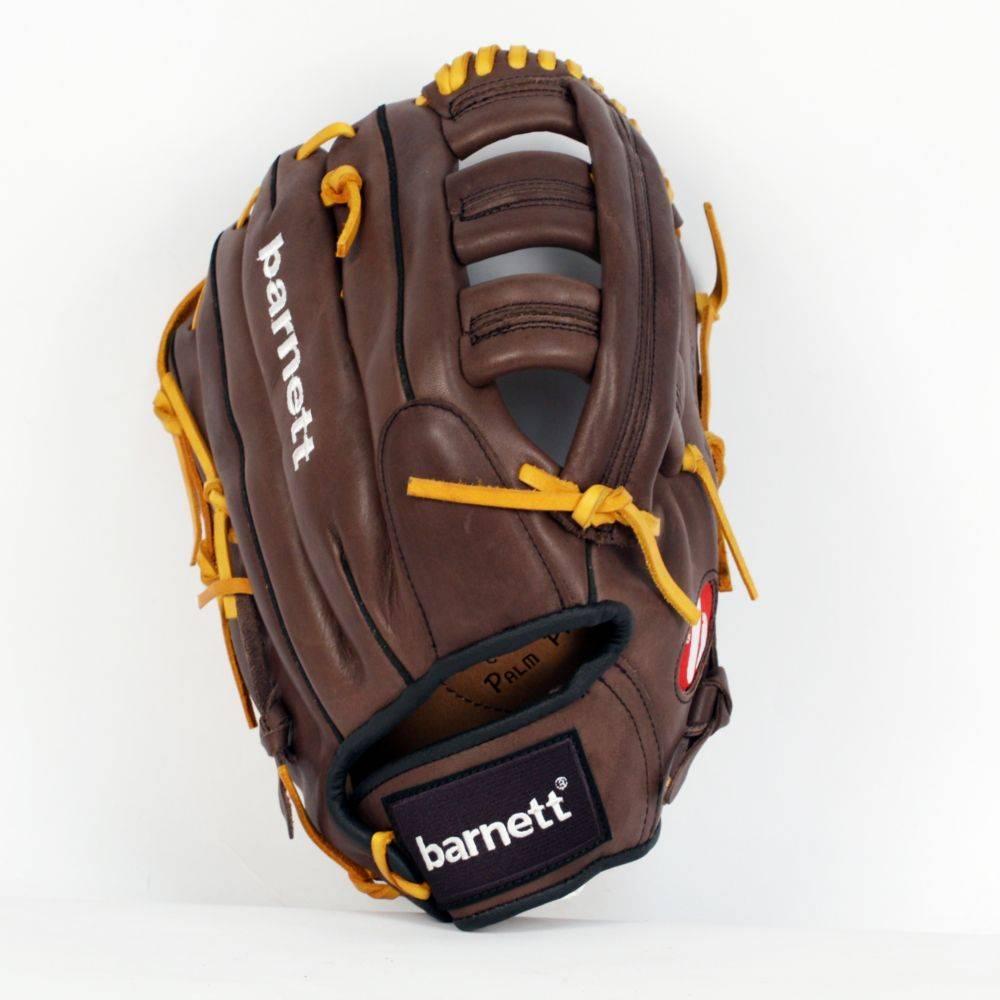 """barnett GL-127 Baseball Handschuh, Echtleder, Wettkampf, Outfield & Softball Größe 12,7"""" (inch), braun"""