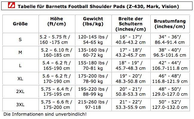 barnett VISION III American Football Schulterschutz, QB-WR-RB-DB