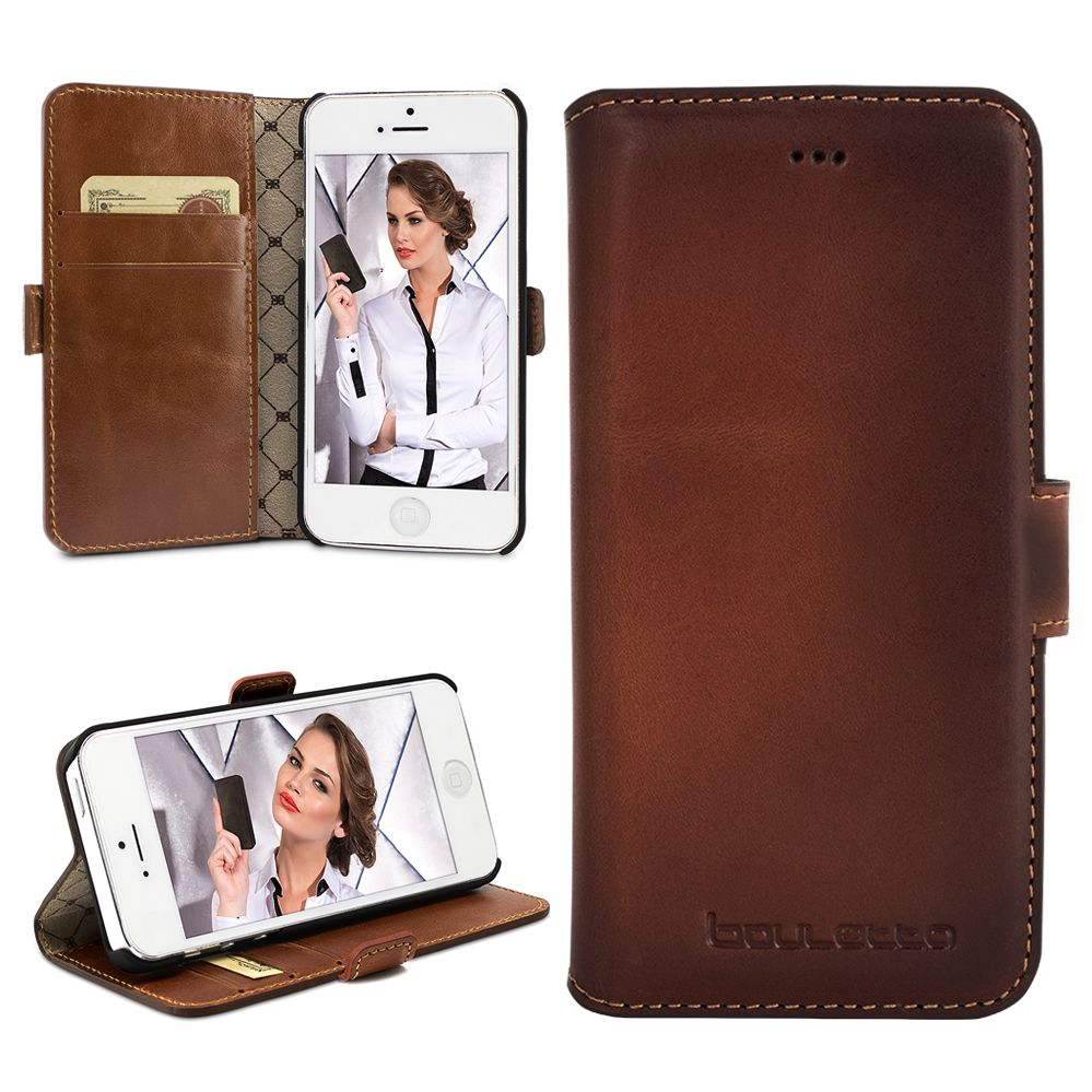 Bouletta Bouletta - iPhone 5(S) & SE BookCase N.E. (Burned Cognac)