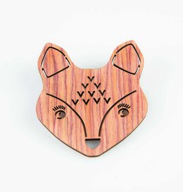 Sass & Belle Fox brooch wood