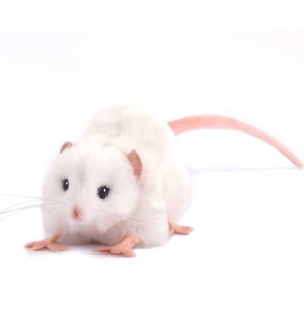 Hansa knuffels Witte rat knuffel Hansa 12 cm