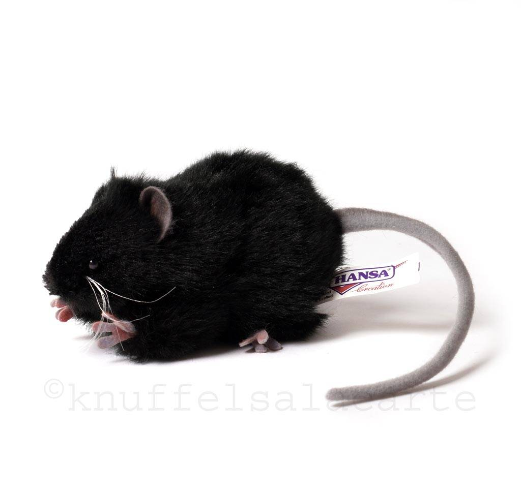 Hansa knuffels Black rat soft toy Hansa 12 cm
