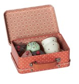 Maileg Suitcase with 4 cupcakes and 2 cups Maileg